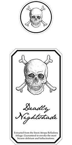 Quality Prints - Laminated 24x48 Vibrant Durable Photo Poster - Halloween Poison Label Drink Horror Spooky Bottle Deadly Nightshade ()
