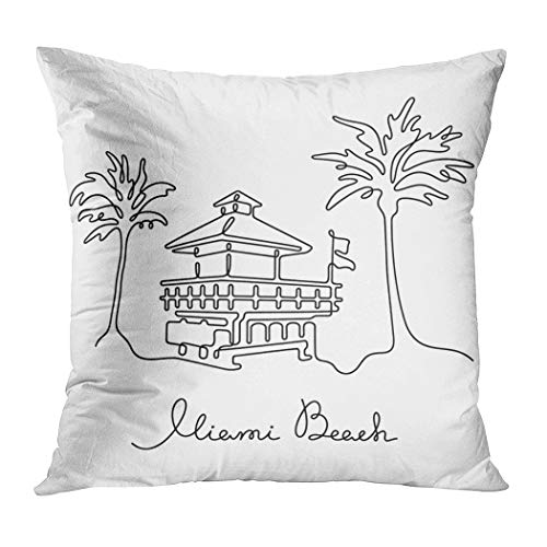 (Janyho Throw Pillow Cover Miami Beach Continuous Line Vector Illustration Comfortable Print Living Room Sofa Bedroom Polyester Hidden Zipper Pillowcase Cushion Cover 18x18 Inch)