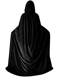 Halloween Velvet Cloak Witch Costume Hooded Party Raven Cosplay Capes