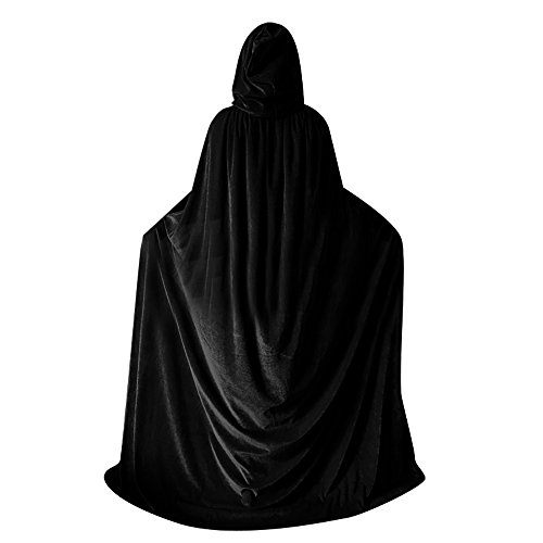 QBSM Women Men Black Halloween Velvet Cloak Witch Wizard Costume Hooded Party Raven Cosplay Capes Adult
