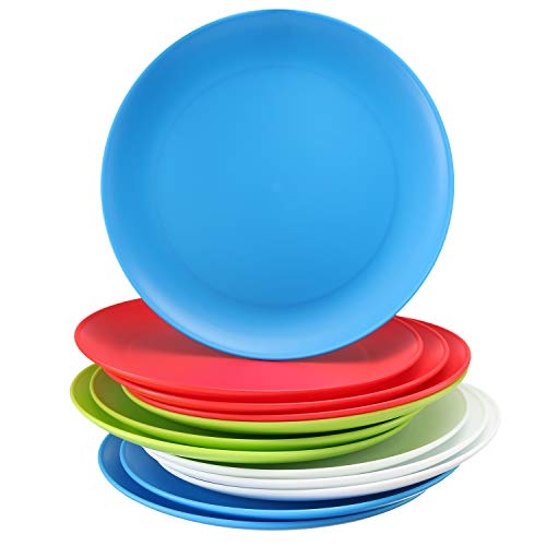Set of 12 - Plastic Kids Plates - 9 Inch Kid Plates - Reusable Kids plate - Dinner Plastic Plates for Kids - BPA Free Food Safe - Assorted Colors kid Plates - Microwave Dishwasher Safe