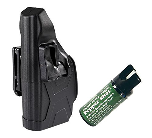 Taser X2 Defender Blackhawk Left Hand Holster & 1 Pepper Shot 2 oz Pepper Spray Fogger by GiftsAndMore