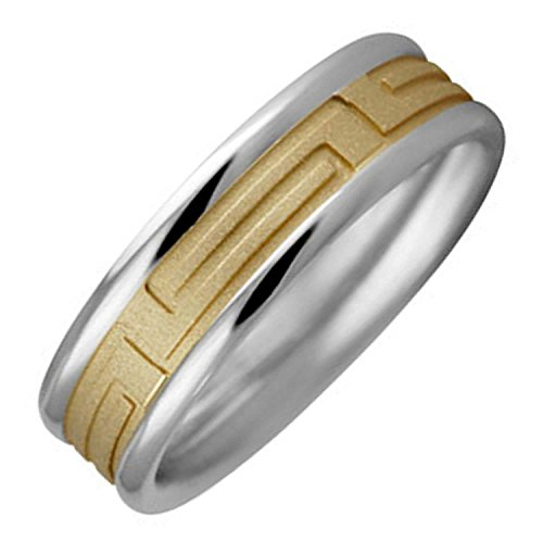 Two Tone Platinum and 18K Yellow Gold Designer Greek Key Women's Wedding Band (6.5mm) Size-4.5c2 18k Yellow Gold Designer Band