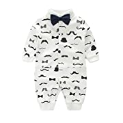 D.B.PRINCE Newborn Baby Boy Romper Jumpsuit Gentleman Suit Long Sleeve Bodysuit Clothes with Bow Tie (White+Black, 3-6 Months)