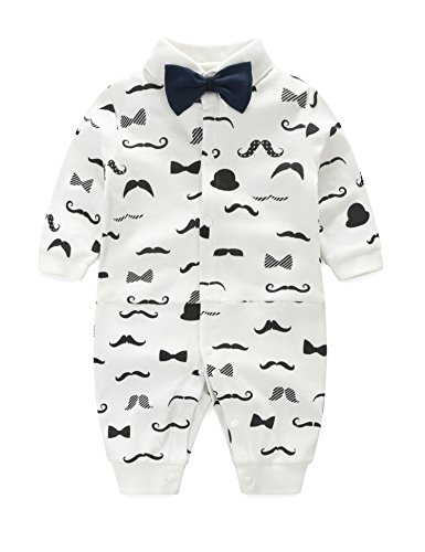 D.B.PRINCE Newborn Baby Boys Long Sleeves Gentleman Cotton Rompers Outfits Small Suit Clothes with Bow Tie (White+Black, 9-12 (Black White Suit)