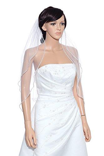 2T 2 Tier Rhinestones Wedding Veil V329 – White Elbow Length 30″