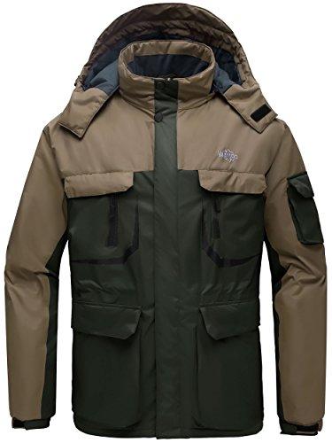 Galleon - Wantdo Men s Hooded Mountain Waterproof Rain Jacket Outdoor  Fleece Windproof Ski Jacket Army Green Coffee US L 9bb692eb0