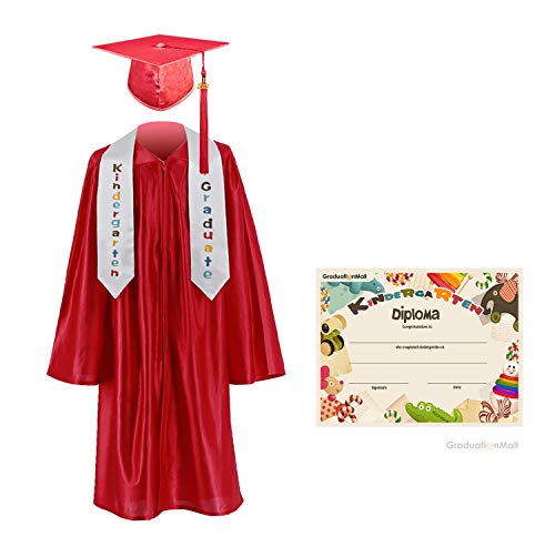 Kindergarten Cap And Gown (GraduationMall Kindergarten Graduation Cap Gown Stole Package with 2018 Tassel, Certificate (2019 Optional) Red Small)