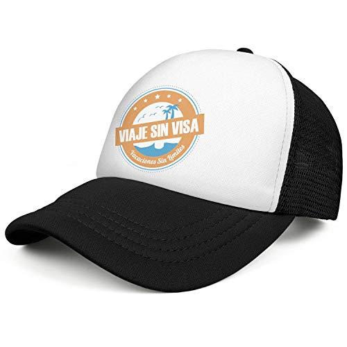 Mens and Womens Viaje Sin Visa Trucker Flat Baseball HatAll Cotton Adjustable Fits