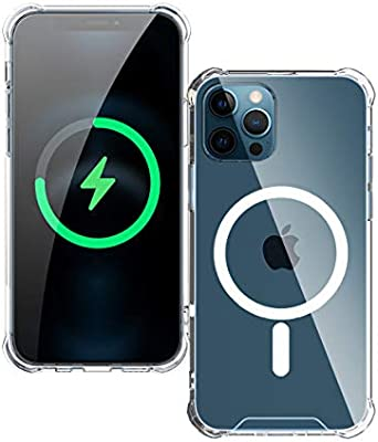 Antank Clear Magnetic Case Compatible with iPhone 12 Pro Max, Magnet Charging Accessories, 4 Corners Shockproof, Scratch-Resistant Fully Protective Phone case, (6.7 inch/1Pack)