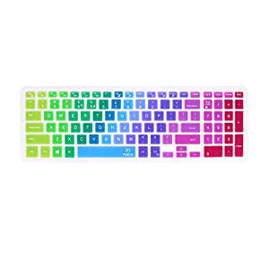 """Colorful Keyboard Cover for 15.6"""" Dell Inspiron 15 3000 Series, 17.3"""" Dell Inspiron 17 5000 Series, 15.6"""" Dell Inspiron 15 7559 i7559 7577 etc. (As description's Applicable Models List) -Rainbow"""