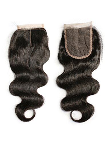 Slove Hair Middle Part Lace Closure Piece Body Wave Brazilian Virgin Human Hair Natural Black Color Bleached Knots with Baby Hair For Women 12 Inches