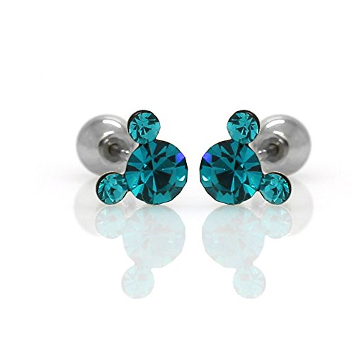 (Michey mouse Earrings 4mm Crystal Screw back ball Surgical steel (turquoise))