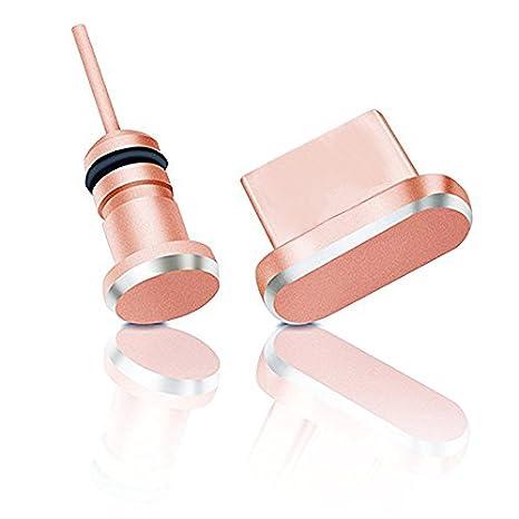 Protection Contre poussi/ère pour connecteur Micro-USB et Prise Jack 3.5 mm Or Rose innoGadgets Bouchon Anti-poussi/ère pour Smartphone Set de Protection en Aluminium