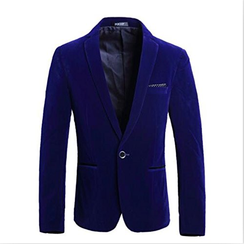 Vazpue Suits New Fashion Men's Blazers Flannel Casual Slim Fit Formal Blazers Long Sleeve Male Clothing Coat Costume Homme XXXL blueM