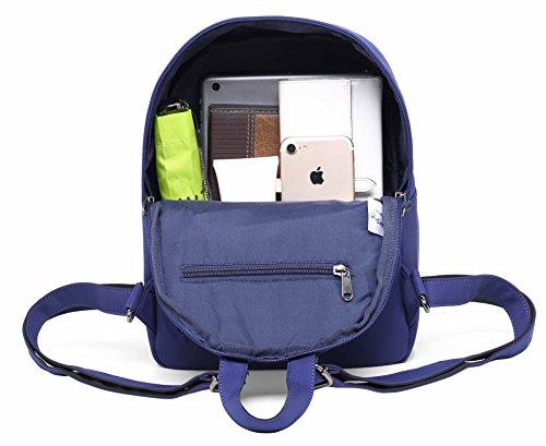 OLETHA Mochila Bolsos Mujer Pequeños | A4 formato | 34x23x11cm | Plata D208F, Azul real