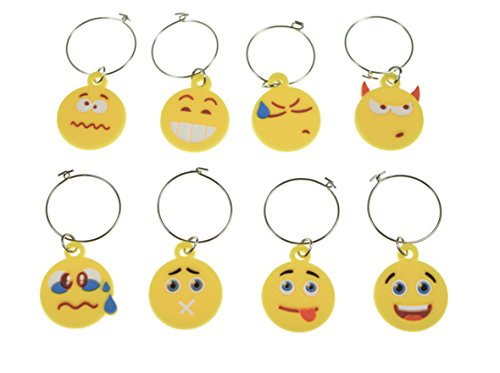 Emoji Wine Glass Charms - Set of 8 - Emoji Inspired Designs - Tags to Mark Your Drinks ...