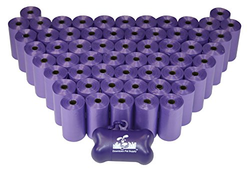 960 Pet Waste Bags, Dog Waste Bags, Bulk Poop Bags with Leash Clip and Bone Bag Dispenser - (960 Bags, Purple) from Downtown Pet Supply