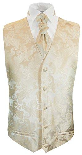Champagne Tuxedo Vest - Paul Malone Formal Champagne Paisley Tuxedo Vest and Cravat