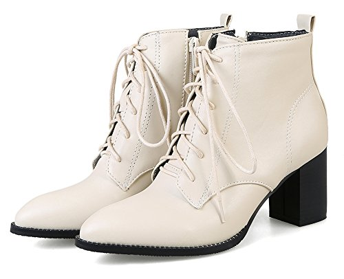 Beige Ankle Women's Toe Pointy Aisun Booties Up Waterproof Classic Lace WUvwWCznq