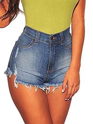 Govc Women's High Waisted Jean Shorts Fray Hem Stretchy Denim Short Jeans
