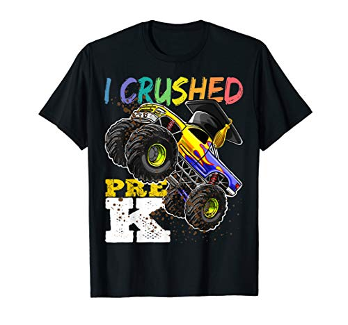I Crushed Pre-K Monster Truck Graduation Cap Shirt Gift Boys]()