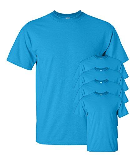 Gildan Men's Seamless Double Needle T-Shirt, Sapphire, S (Pack of 5)