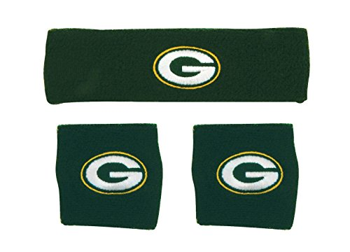 NFL Green Bay Packers Wristbands & Headband Set, Green, One Size