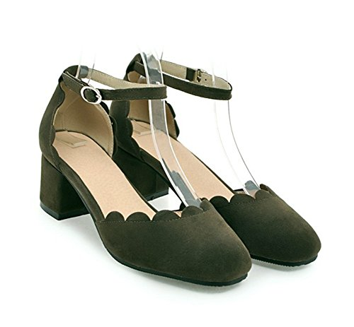 Knöchelriemchen mit Damen Blockabsatz Grün Schnalle Geschlossen Sandale Aisun qE4ZnxfwZ