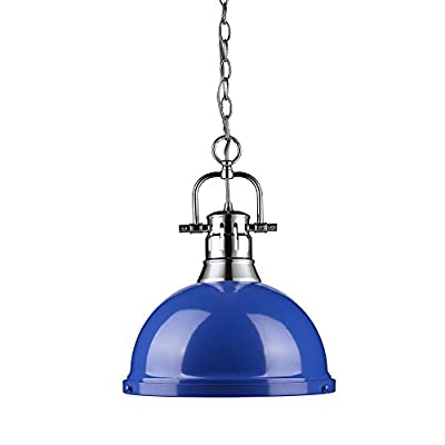 Golden Lighting 3602-L CH-BE Duncan - One Light Chain Pendant, Shade Options: Blue Glass
