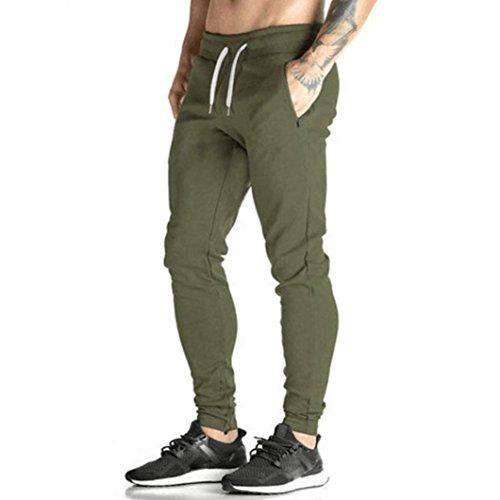 (Men Pants Daoroka Men's Casual Long Jogger Dance Slacks Sportwear Running Trousers Sweatpants with Pocket (L, Green))