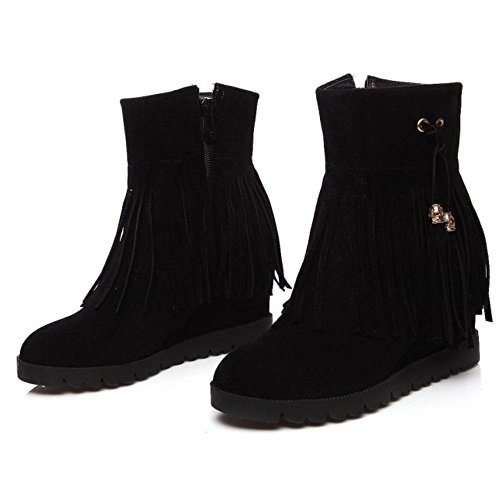 Wedges Boots Black Heels Fashion Ankle Women's COOLCEPT High w4FOqE