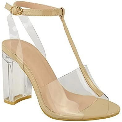 419200e56c1881 Womens Ladies High Heels Perspex Block Clear Sandals Celeb Ankle Strappy  Size UK
