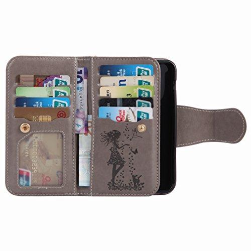 Yiizy Samsung Galaxy A3 (2017) / A320F/FL / A320Y Custodia Cover, Ragazza Goffratura Design Sottile Flip Portafoglio PU Pelle Cuoio Copertura Shell Case Slot Schede Cavalletto Stile Libro Bumper Prote