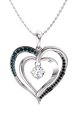Diamondere Natural and Certified White, Black and Blue Diamond Double Heart Necklace in 10k White Gold | 0.33 Carat Pendant with Chain