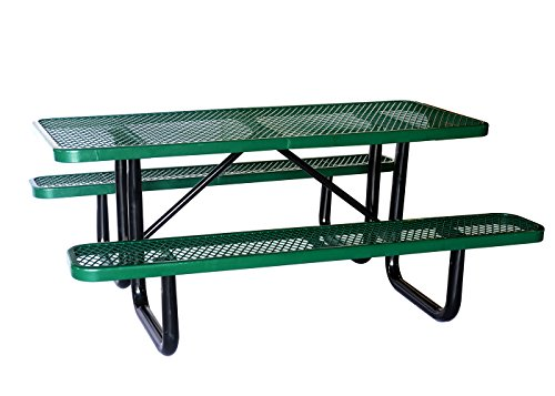 "Lifeyard 72"" Expanded Commercial Metal Picnic Table with Attached Seats, Rectangular,Green"