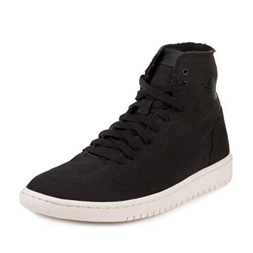 Nike Mens Air Jordan 1 Retro High Deconstructed Black Black/Black-Sail Canvas Size 8.5