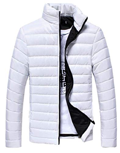Warm Men's Puffer Light Jacket Parka Coat Cotton Down Packable Winter White security 1d7q8w1