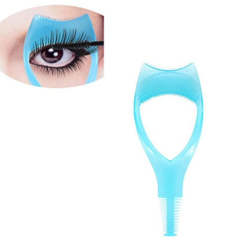 3Pcs Plastic Makeup Upper Lower Eye Lash Mascara Guard Applicator With Comb Eyelashes Curlers Shields Applicators (Blue)