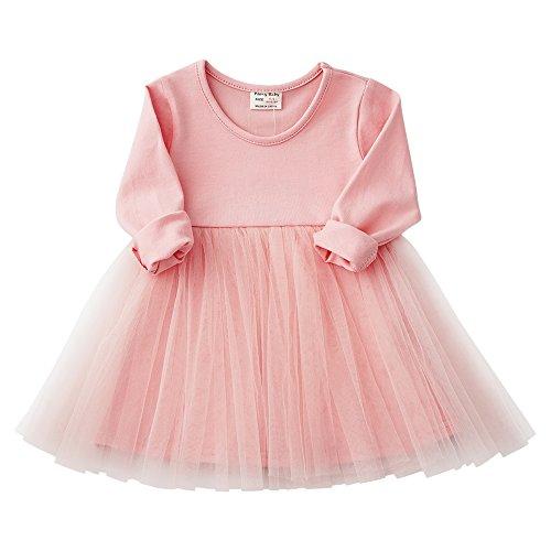 Peony Baby Baby Girls Black Dress Tutu Sundress Tulle Orangic Skirt (9-12 Months, Pink 1)