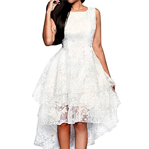 Chuangkeying Ladies Dress Summer Sleeveless Large Swing Short Dress Wedding Dress-M