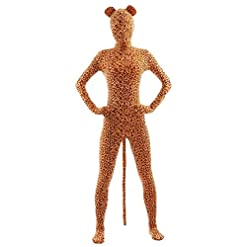 Ensnovo Adult Full Body Lycra Spandex Tiger Zentai Suit Costumes