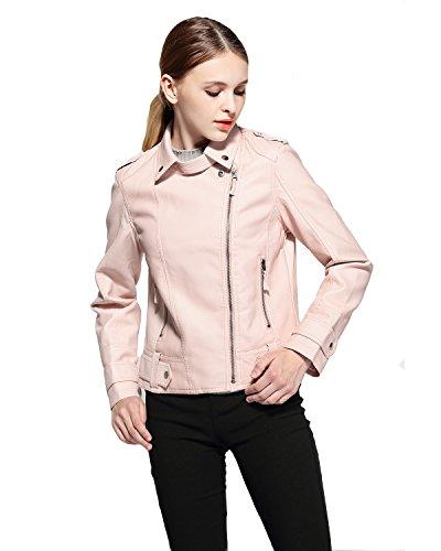 (Fitaylor Women's Faux Leather Zip up Moto Biker Short Jacket (Medium,)