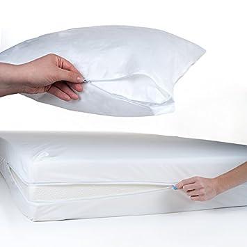 Everyday Home 2 Piezas Cama Bug y Polvo y ácaros Protector de colchón y Funda de Almohada, Twin/XL: Amazon.es: Hogar
