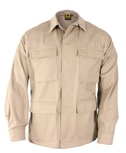 Propper BDU Coat Regular Length 65/35 Polyester/Cotton Ripstop Khaki XSR (Khaki Bdu Jacket)