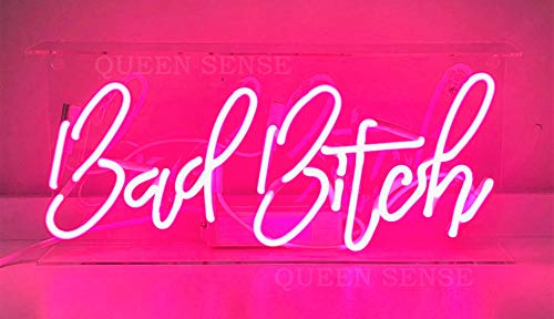 Queen Sense 14 Bad Bitch Neon Sign Light Decorated Acrylic Panel Handmade Beer Bar Pub Man Cave Lamp UT198