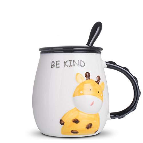 SHUIBEIHHY 440ml Ceramic Mug,Creative Mug with lid Spoon Coffee Cup Breakfast Milk Cups,Couples Mug Coffee Water Mugs Cute Breakfast Cup
