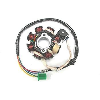 amazon.com: new! 8 coil 8 pole 5-wire alternator magneto ... 7 pin 11 pole stator gy6 wiring schematic 8 pole stator wiring