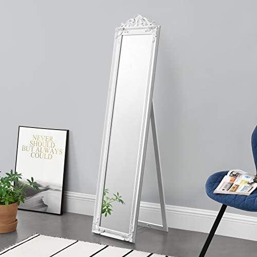 [en.casa] Standspiegel 160×40 cm Ganzkörperspiegel rechteckig Ankleidespiegel kippbar Barock Weiß