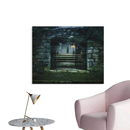 (Anzhutwelve Gothic Mural Decoration Image of The Gate of a Dark Old Haunted House Cemetery Dead Myst Fiction Art Print Poster Paper Grey Green W36)